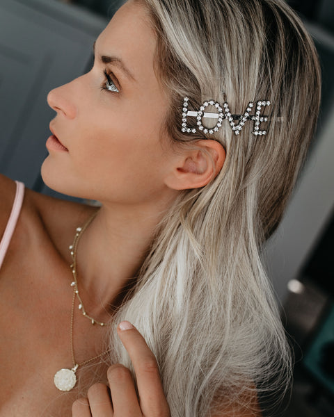 Love Diamond Embellished Hair Clip