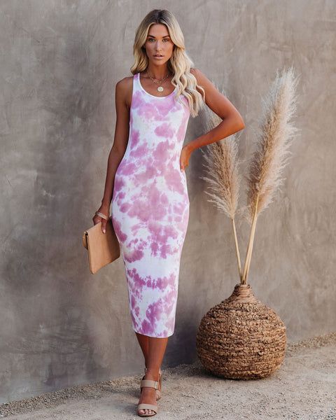Love Endures Ribbed Tie Dye Knit Midi Dress