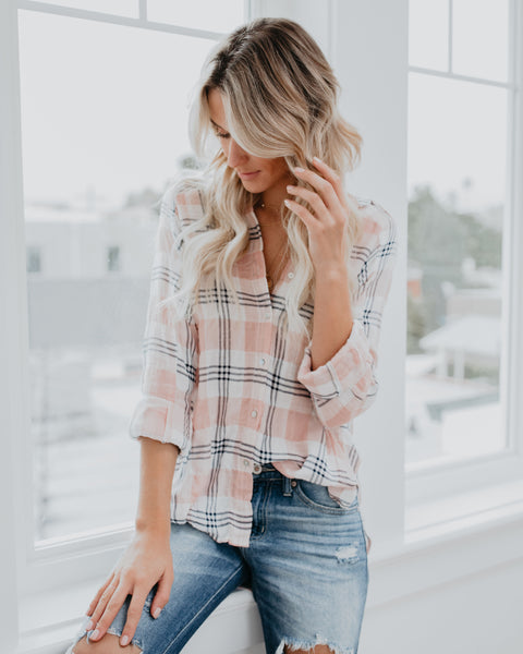 Love Is All You Need Cotton Button Down Top