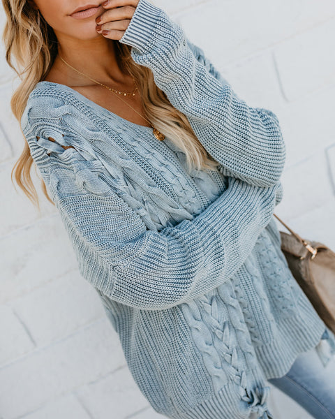 Love Letters Cable Knit Lace Up Sweater - Dusty Blue