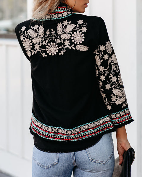 Lovely Gesture Embroidered Fringe Jacket