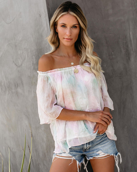 Love Potion Off The Shoulder Crinkled Chiffon Top - FINAL SALE