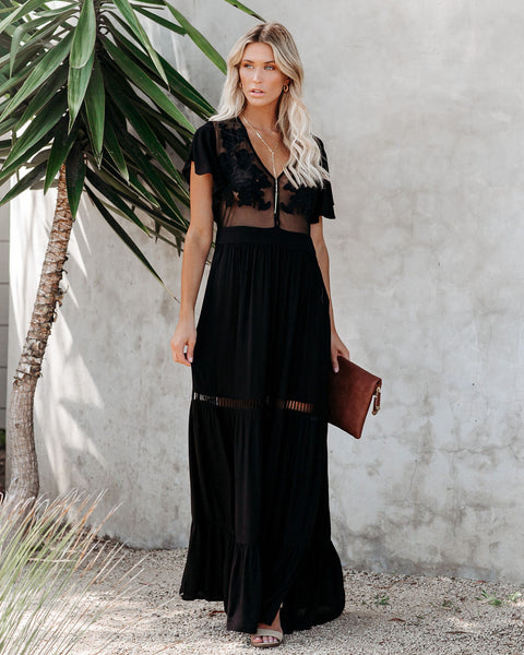 Love Shack Embroidered Maxi Dress - Black - FINAL SALE