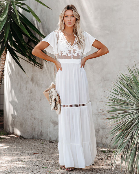 Love Shack Embroidered Maxi Dress - Ivory