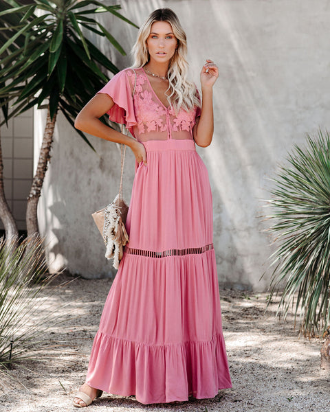 Love Shack Embroidered Maxi Dress - Mauve - FINAL SALE