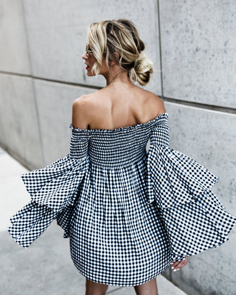 Camilla Gingham Bell Sleeve Dress
