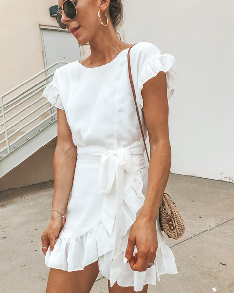Lovina Ruffle Wrap Dress - Off White