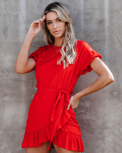 Lovina Cotton Ruffle Wrap Dress - Blood Orange