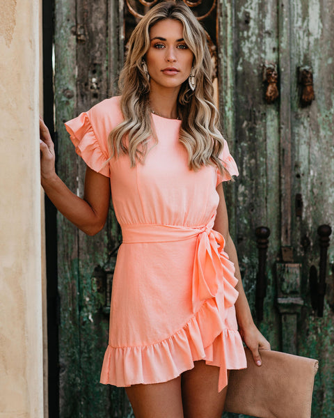 Lovina Cotton Ruffle Wrap Dress - Peach