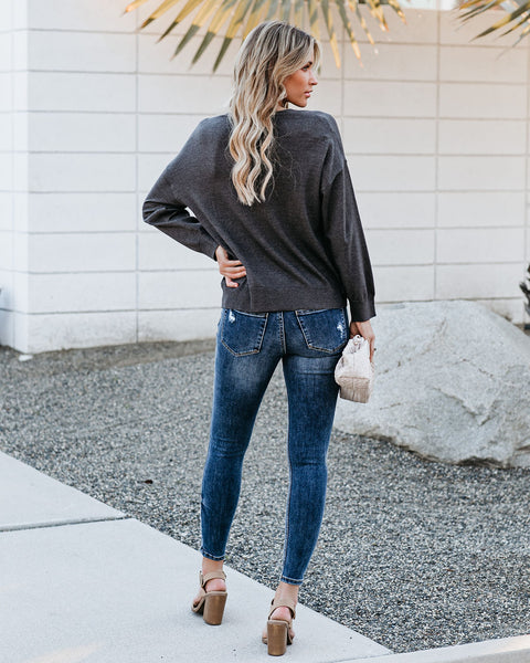 Loving Lace Layered Drape Sweater - Charcoal - FINAL SALE