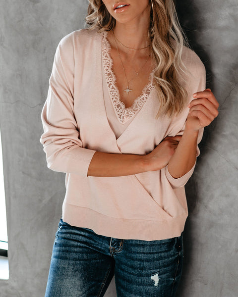 Loving Lace Layered Drape Sweater - Twig