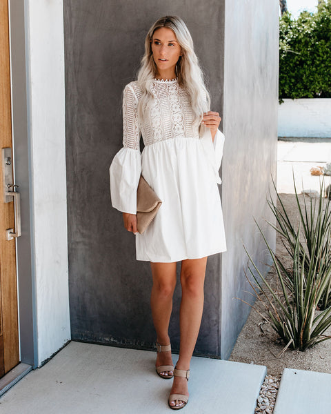 Loving You Is Easy Cotton Lace Bell Sleeve Dress - FINAL SALE