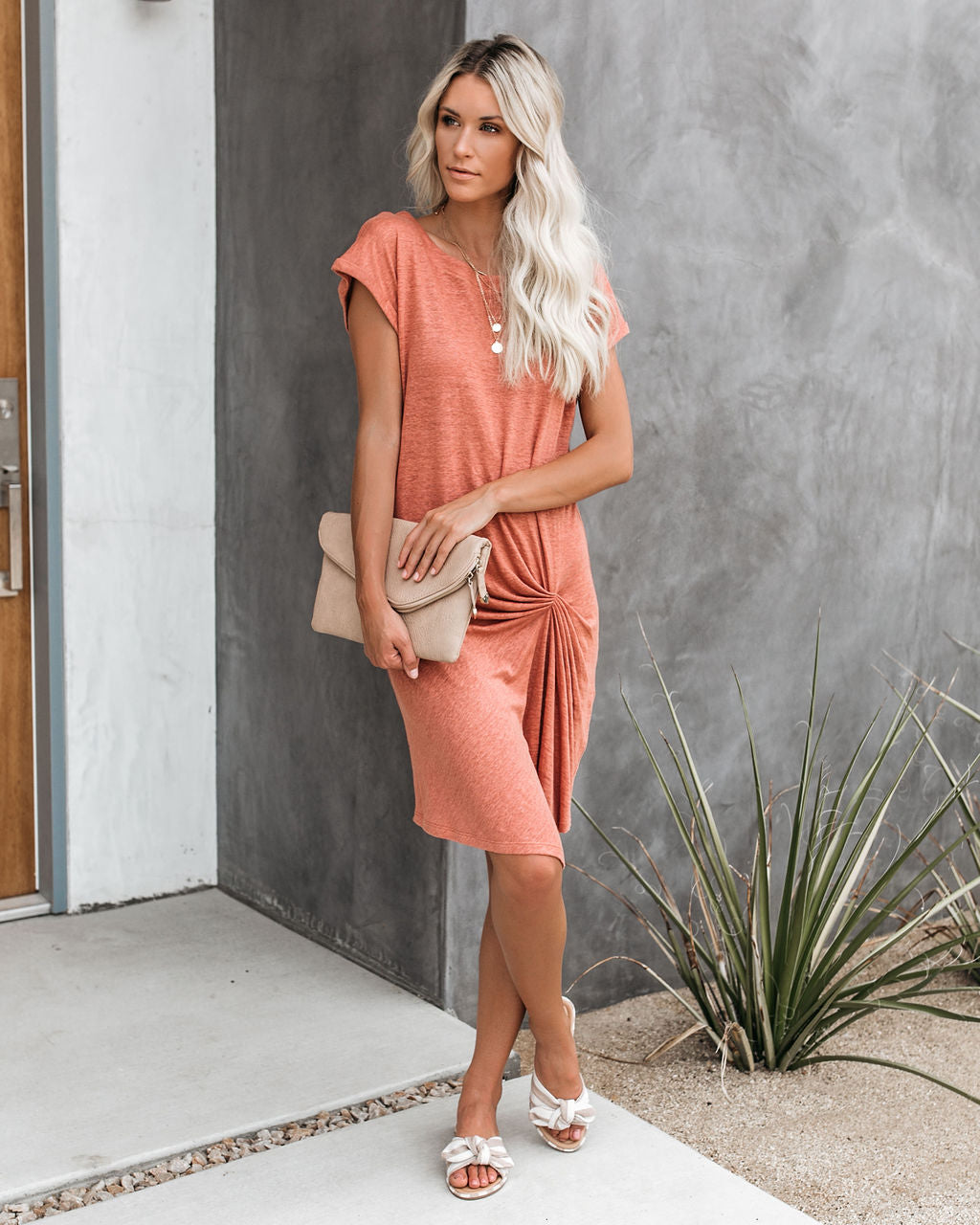 870cacfa Low Key Linen Twist T-Shirt Dress - Orange Pink – VICI
