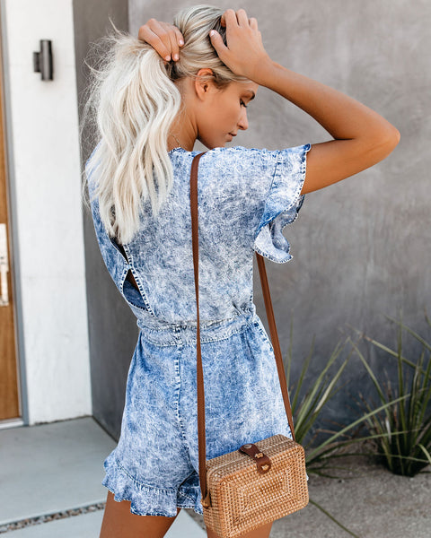 Luca Acid Wash Pocketed Tencel Romper
