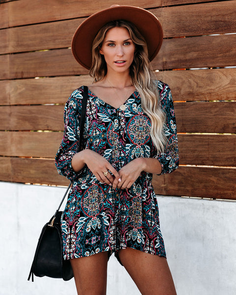 Luck Of The Draw Printed Button Down Romper - FINAL SALE