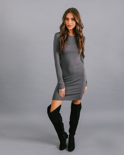 Lure You In Bodycon Dress - Grey