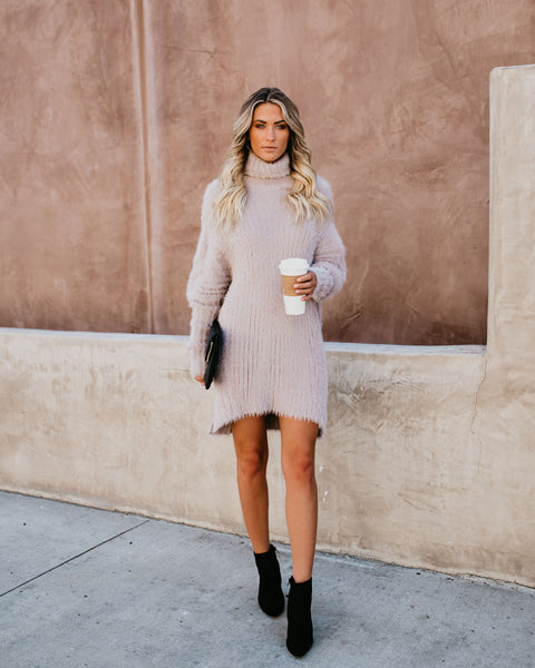 Lush Life Fuzzy Sweater Dress