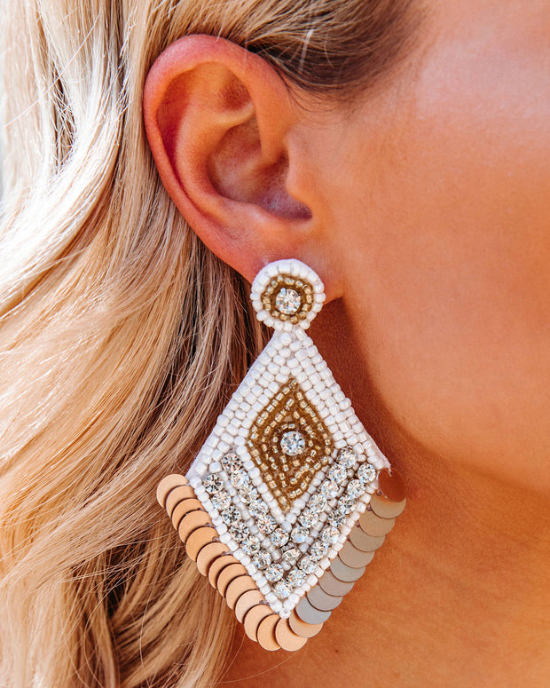 Luxe Beaded Statement Earrings - White view 3