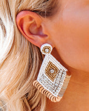 Luxe Beaded Statement Earrings - White view 2