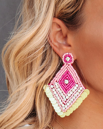 Luxe Beaded Statement Earrings - Pink