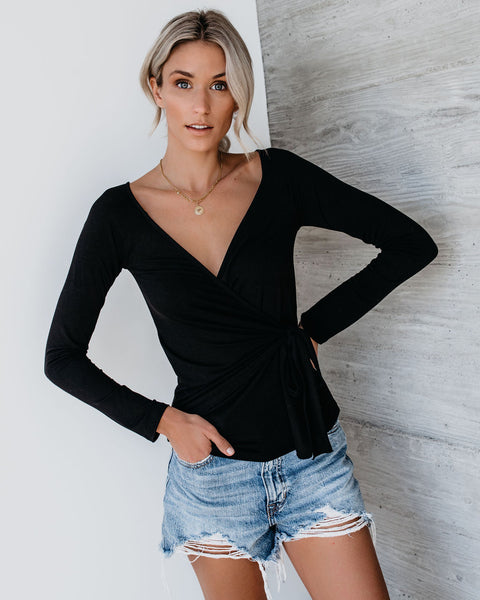 Luxe Life Wrap Top - Black