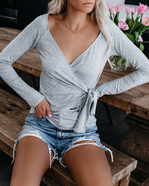 Luxe Life Wrap Top - Heather Grey