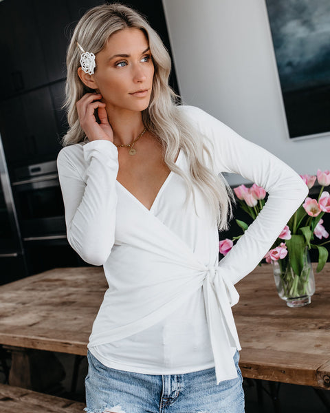 Luxe Life Wrap Top - Off White