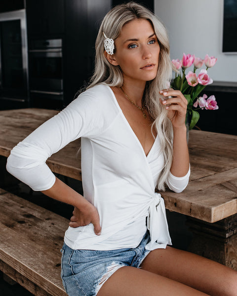 Luxe Life Wrap Top - Off White - FINAL SALE