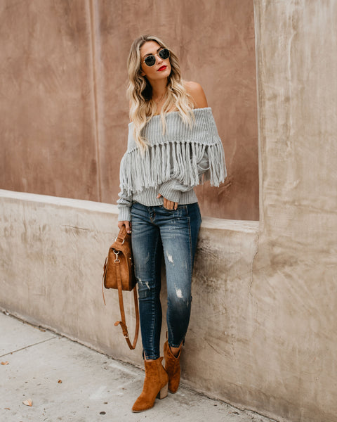 Luxey Off The Shoulder Fringe Sweater - Heather Grey