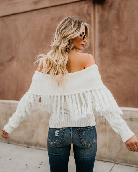 Luxey Off The Shoulder Fringe Sweater - White