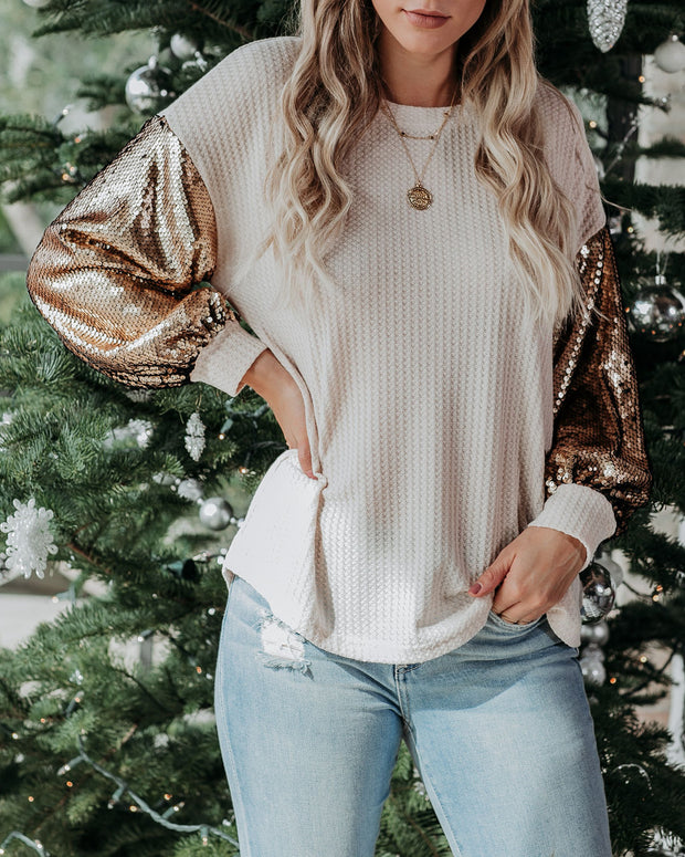 Luxor Sequin Sleeve Thermal Knit Top - Natural
