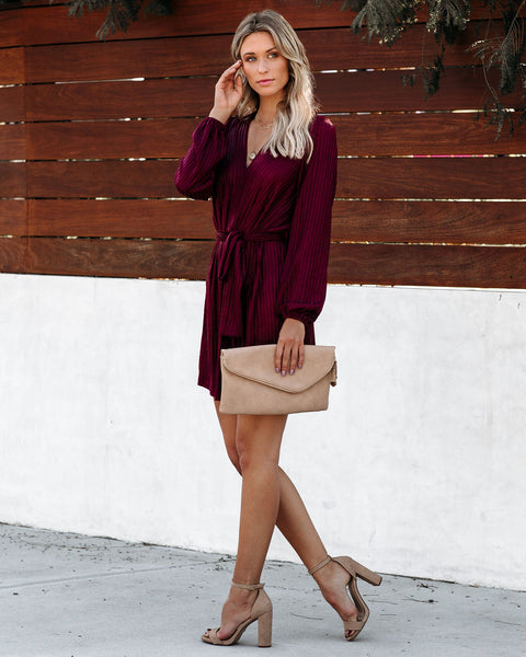 Luxurious Shimmer Tie Dress - Burgundy