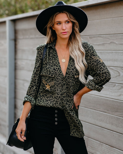 Macarthur Button Down Leopard Utility Blouse