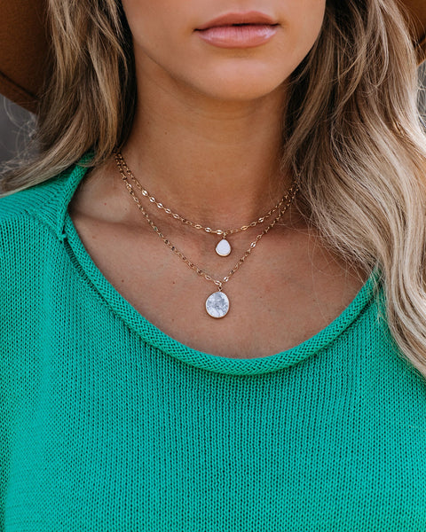 Macey Layered Pendant Necklace - Marble