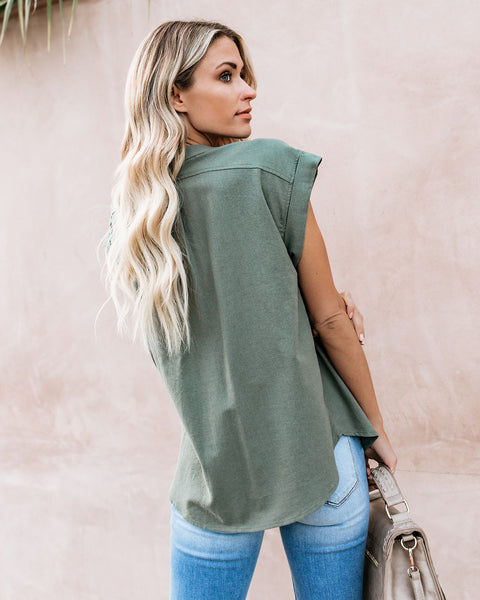 Machu Picchu Cotton Utility Top - Light Olive