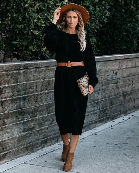 Macie Ribbed Midi Sweater Dress - Black