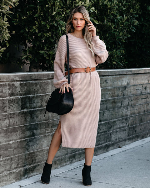 Macie Ribbed Midi Sweater Dress - Taupe