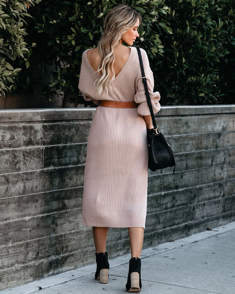 Macie Ribbed Midi Sweater Dress - Taupe - FINAL SALE