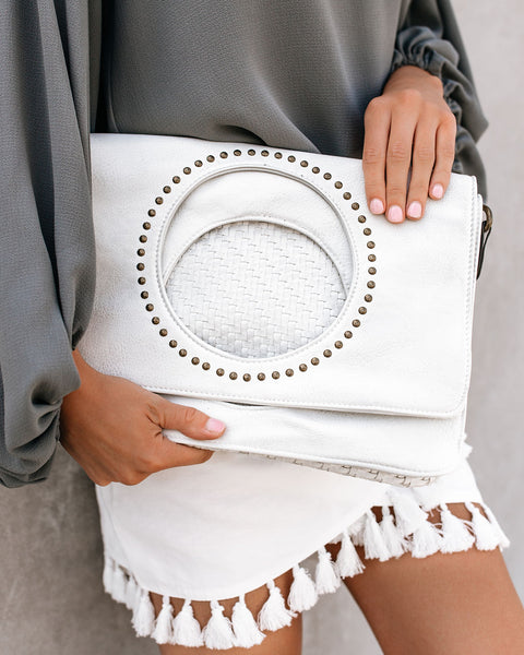 Madeline Studded Foldover Clutch - White