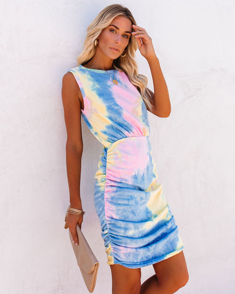 PREORDER - Made My Day Tie Dye Ruched Tank Dress
