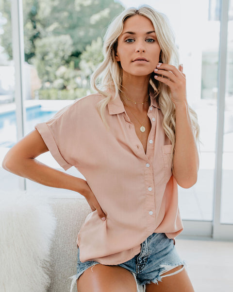 Made You Blush Tencel Button Up Top