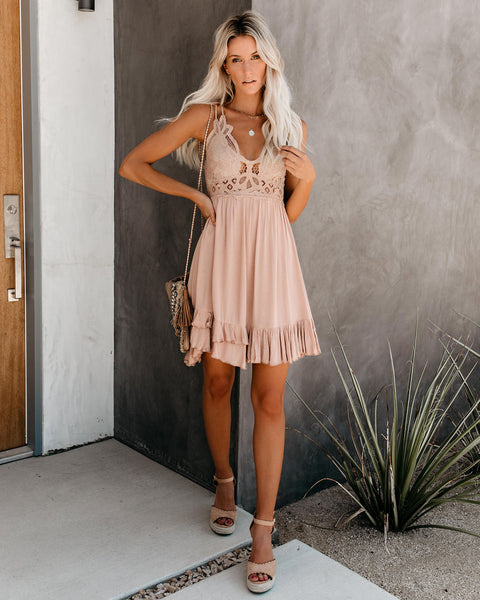 Maeve Crochet Lace Ruffle Dress - Beige