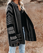 Magdalene Cotton Pocketed Cardigan - Black view 6