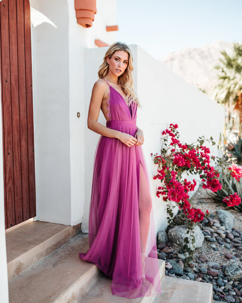 Talk Of The Town Maxi Dress - Magenta