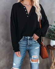 Maggie Relaxed Knit Henley Top - Black