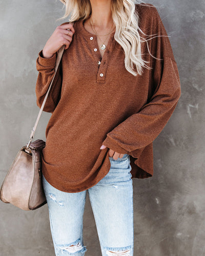 Maggie Relaxed Knit Henley Top - Camel