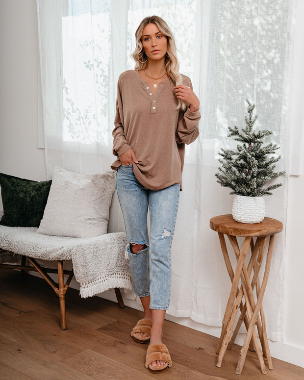 Maggie Relaxed Knit Henley Top - Mocha view 6