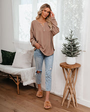 Maggie Relaxed Knit Henley Top - Mocha view 8