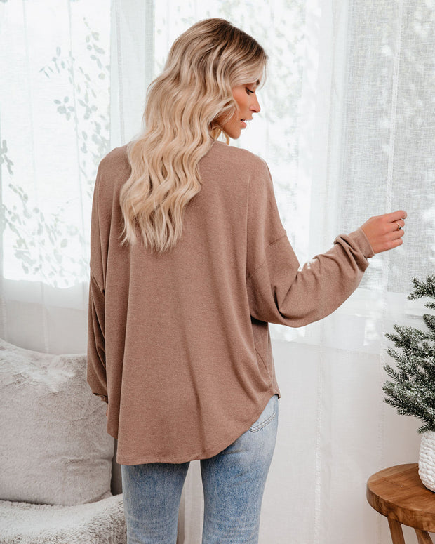Maggie Relaxed Knit Henley Top - Mocha view 2