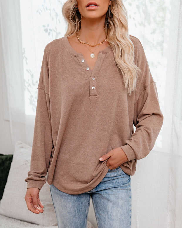 Maggie Relaxed Knit Henley Top - Mocha view 10